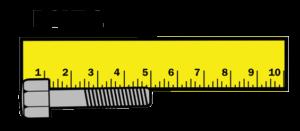 Bolt 1 showing 5cm on ruler.