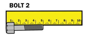 Bolt 2 showing 5cm on ruler.